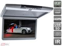 """Автомобильный потолочный монитор 17,3"""" со встроенным FULL HD медиаплеером AVS1717MPP (серый)"""